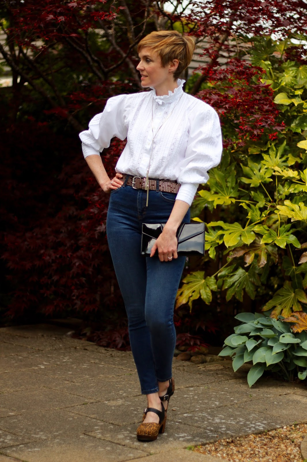 Vintage Victorian Ruffle Blouse, Clogs & Skinny Jeans | Fake Fabulous