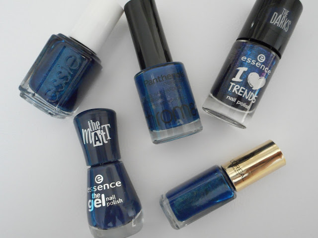 Essence #22 i love my blue jeans, Essie #936 Bell-Bottom Blues, Panthenols Chroma #630, L'oreal #811 Magic Croisette, Essence #17 Indigo to Go