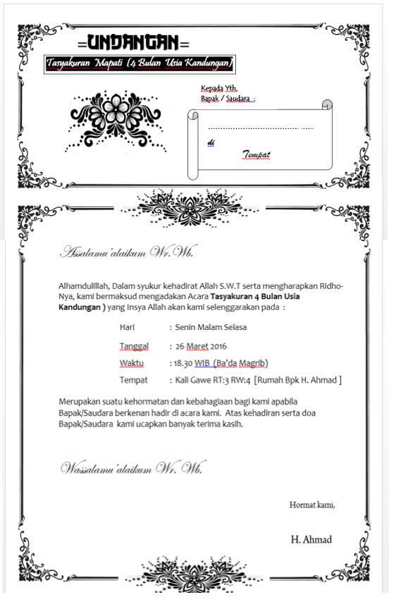 Download Template Undangan Tasyakuran Bisa di Edit Sendiri