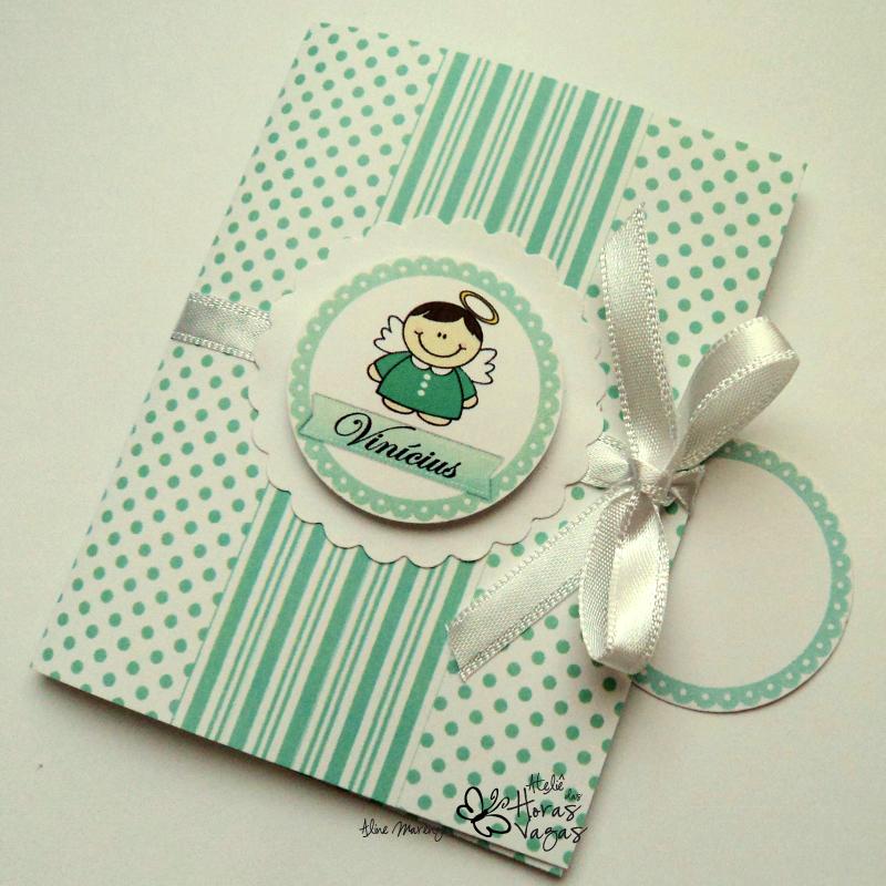 convite artesanal infantil batizado anjinho anjo bebê verde claro menino
