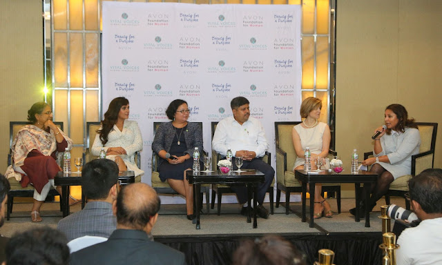 The Justice Institute Panel Discussion by the Avon Foundation for Women L-R Priti Patkar, Richa Chadha, Gigi Scoles, Ravi Kant, Christine Jaworsky and Uma Iyer