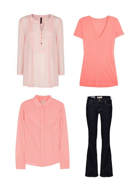 four garments to add to a travel wardrobe - jeans and three peach tops