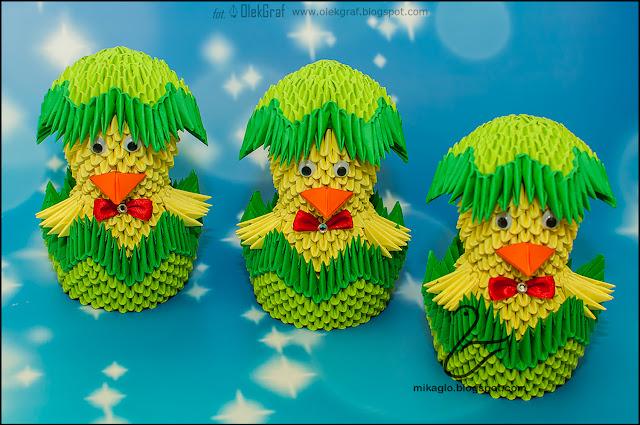 552. Kurczaki w skorupkach z origami / 3d origami Easter chickens