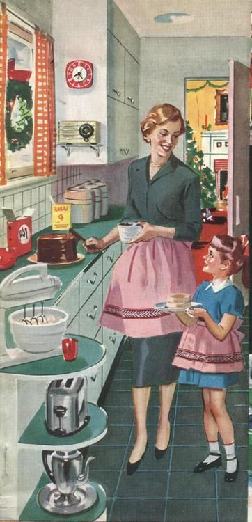 vintage ilustration - mother and doughter cooking