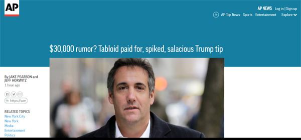 screencap of an AP article headline: '$30,000 rumor? Tabloid paid for, spiked, salacious Trump tip'