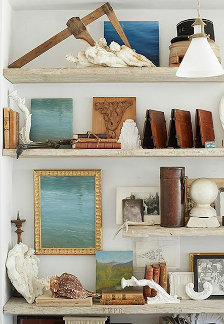 Rustic chic modern farmhouse wood shelves at Patina Farm by Giannetti Home - found on Hello Lovely Studio