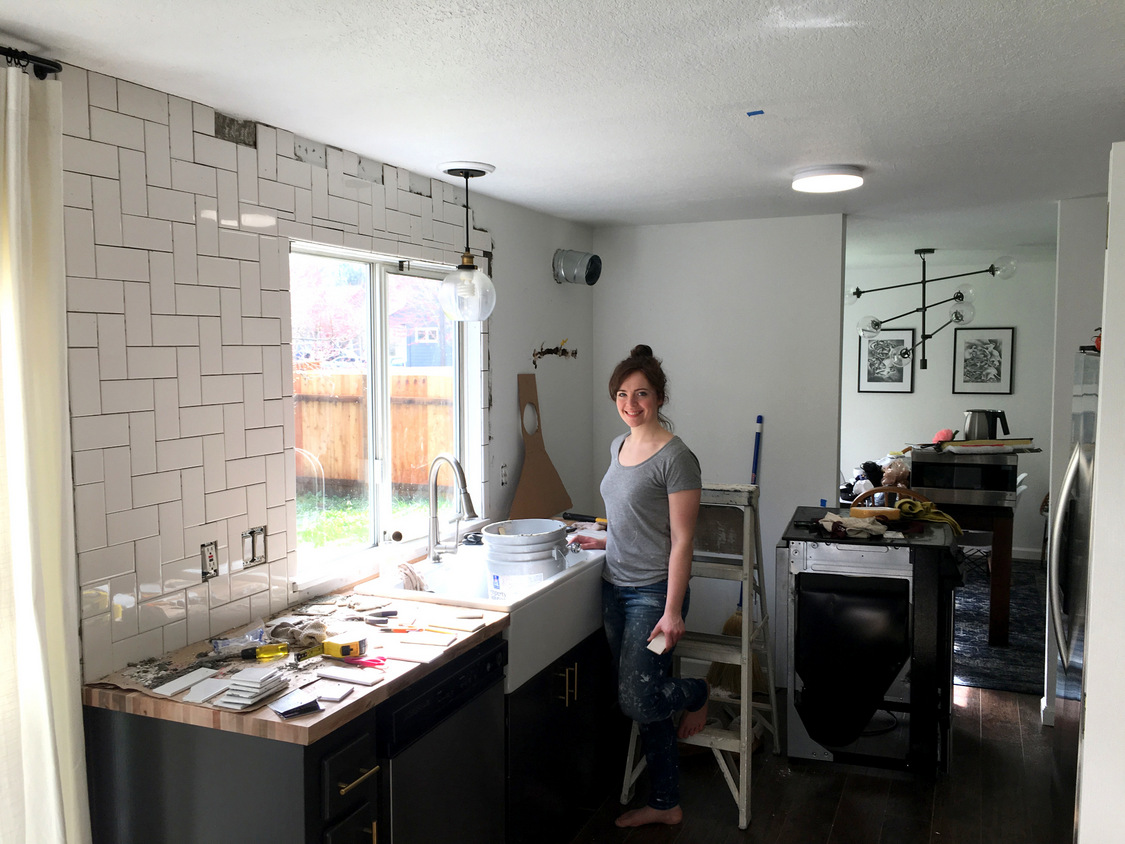 Straight herringbone tile backsplash tutorial create enjoy as in dont put mortar on the wall where youre not ready to tile yet see where i scraped some off dailygadgetfo Gallery