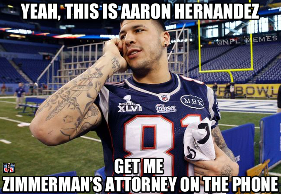 Funny Nfl Memes: Political Memes: Aaron Hernandez Reacts To The Zimmerman