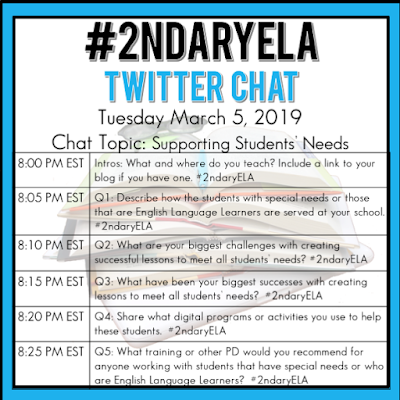 Supporting Students' Needs can be a challenge.  Come to the #2ndaryELA chat to get new ideas how to do this more efficiently and effectively.