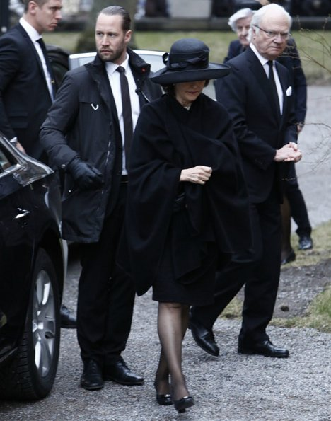 King Carl Gustaf, Queen Silvia, Prince Carl Philip, Princess Sofia, Crown Princess Victoria, Princess Madeleine at funeral service for Carl Adam Lewenhaupt
