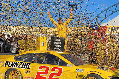 """Winning the Pennzoil 400 with the Pennzoil car, this is huge."" Joey Logano"