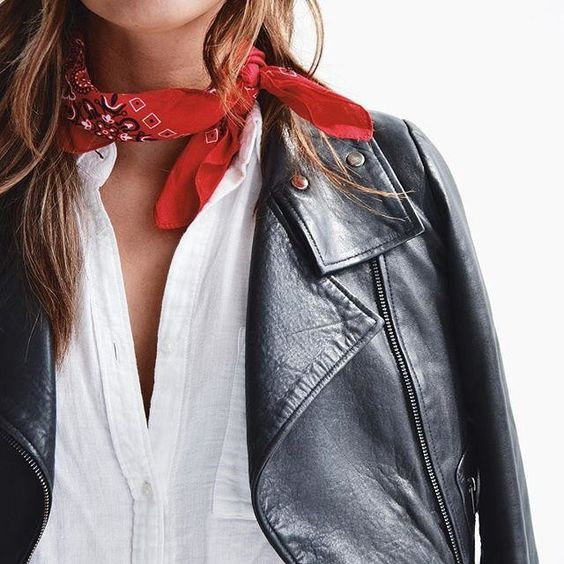 neck scarf red bandana leather jacket stylish fashion trend