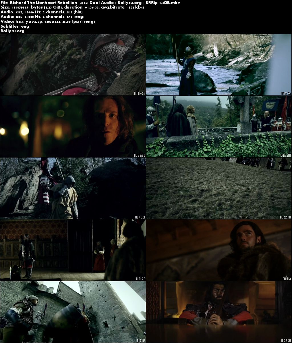 Richard The Lionheart Rebellion 2015 BRRip Hindi 300MB Dual Audio 480p Download
