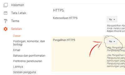 Pilih Ya pada opsi Pengalihan HTTPS