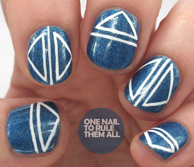 One Nail To Rule Them All Barry M Nail Art Pens Review: One Nail To Rule Them All: Blue Celestial Geometric