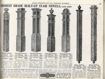 sears stair newels 1912 building materials catalog