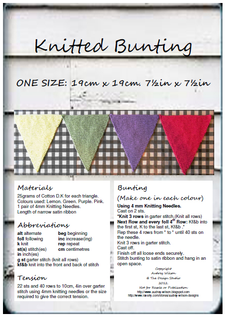 Free Knitting Pattern Knitted Bunting Flags