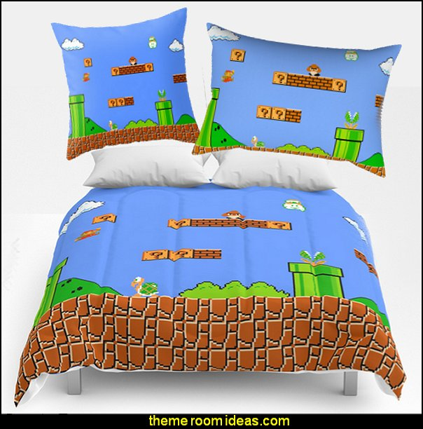 MARIO BEDDING  Gamer bedroom - Video game room decor - gamer bedroom furniture - gamer wall decal stickers - Super Mario Brothers Wall Stickers - gamer bedding - Super Mario Brothers bedding - Pacman decor -