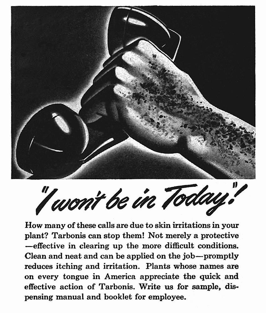 a 1940s plastics factory, Tarbonis, skin irritation plastics