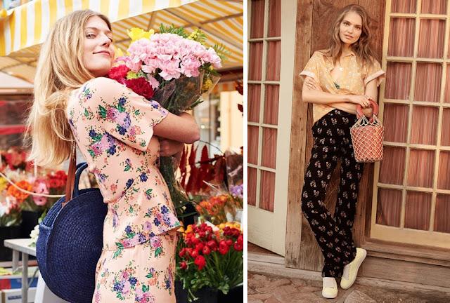 Девушка в брюках и топе с разным цветочным принтом