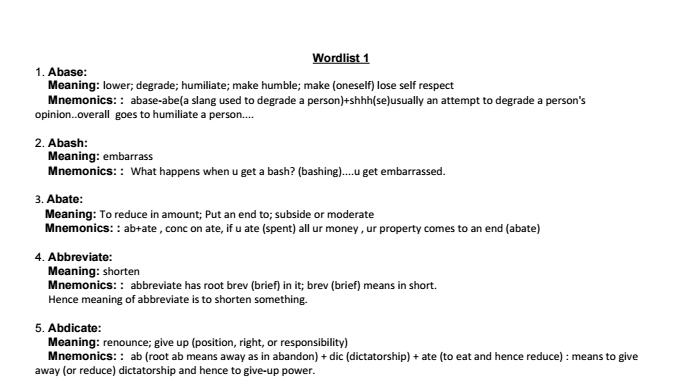 Dictionary pdf mnemonic gre