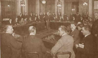 Simultáneas de Alekhine en el Círculo Ecuestre de Barcelona en 1922