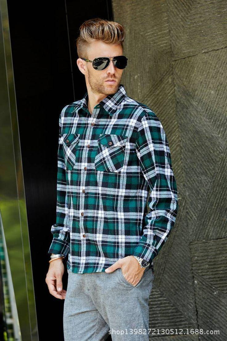 Look Masculin com Camisa Xadrez Verde