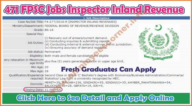 Inspector Inland Revenue jobs in fpsc