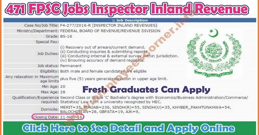 471 Inspector Inland Revenue Jobs in FPSC Jobs Federal Public Service Commission Jobs in