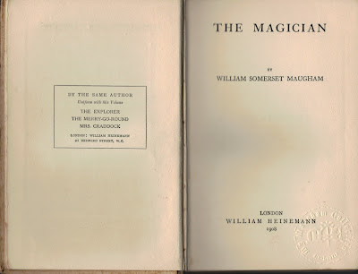 The Magician (1908) colonial edition - WS Maugham - title