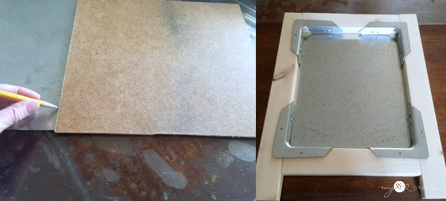 cutting sheet metal and dry fitting easel frame