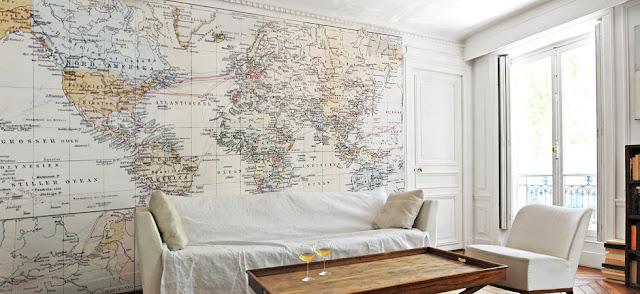 tapet världskarta vardagsrumtapet