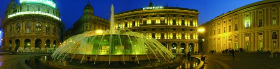 Fountain at night on Piazza de Ferrari, Genoa, Liguria