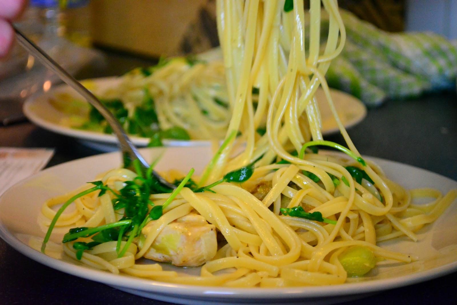 linguine, food, foodie, recipe, ingredients, gousto, lifestyle, lemon, capers, chicken, leek,