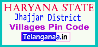 Jhajjar District Pin Codes in Haryana State