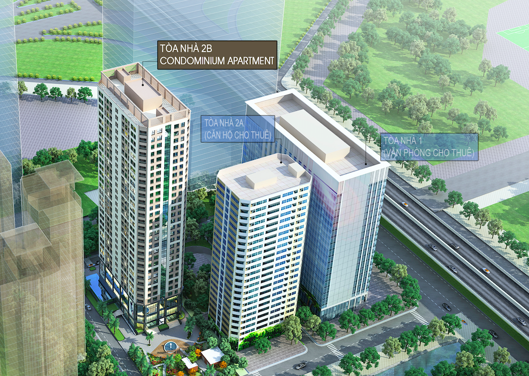 Toà chung cư 2B là toà căn hộ để bán cao 31 tầng giáp với Thăng Long Number one