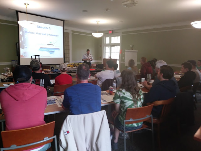 Auxilarist Chris Malzone engages the class about the necessary steps to take prior to getting underway in your vessel.