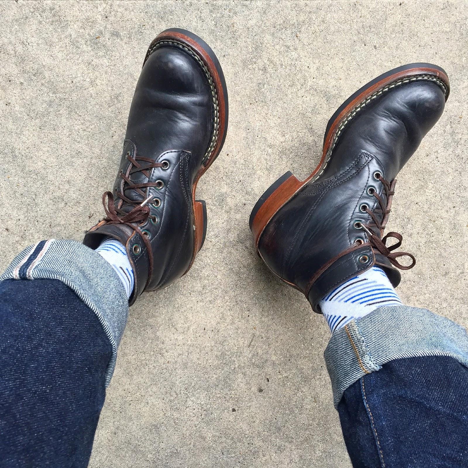 Vintage Engineer Boots: HORSEHIDE WHITES SEMI-DRESS