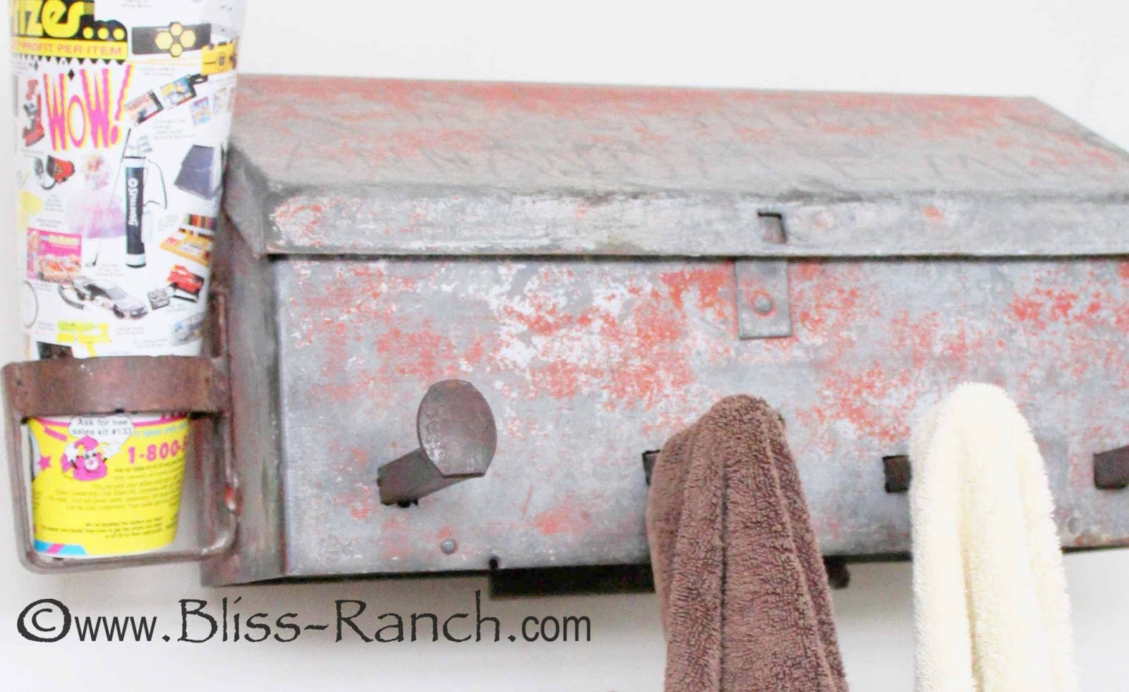 Vintage Mailbox Turned Towel Holder, Bliss-Ranch.com