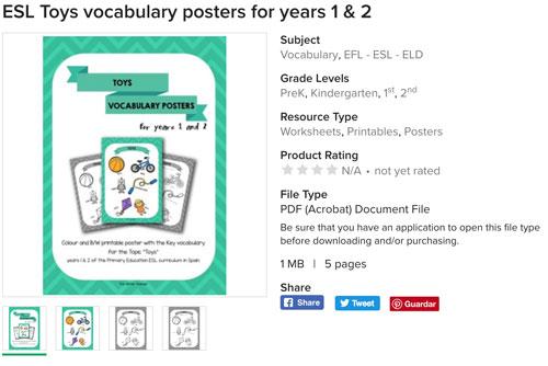 Preview gratuita de los Posters y worksheets de vocabulario específico para primero y segundo de educación primaria en el área de inglés como lengua extranjera.