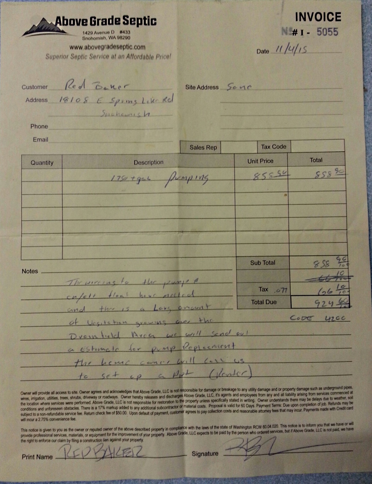 Cabin Maintenance Record pump service invoice from poopy smelling guy