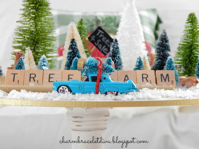 Retro roadster with bottle brush Christmas tree