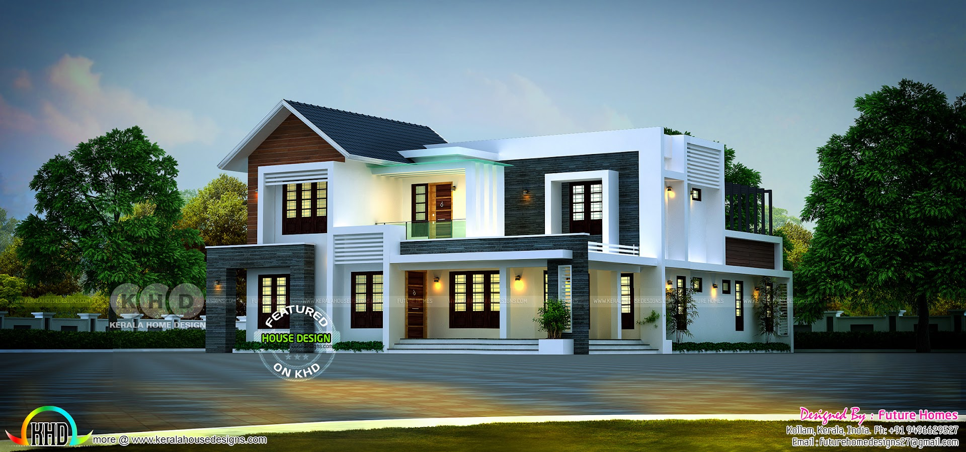 Two Storied Mixed Roof Home 2988 Sq Ft Kerala Home Design And Floor Plans 8000 Houses