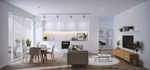 Phòng khách liền phòng bếp xu hướng cho nhà phố đẹp nhỏ hẹp