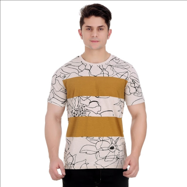 Round Neck Oatmeal Melange Cotton T Shirt With Floral Graphic
