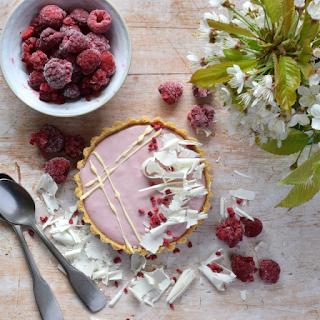 Original composition of Raspberry and White Chocolate Ganache Tart