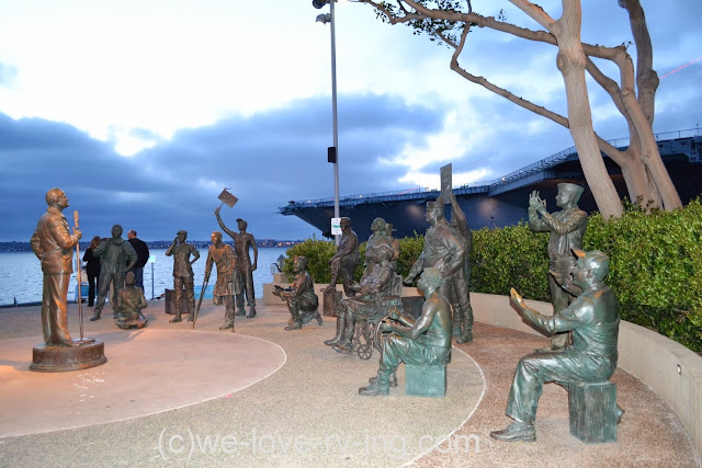 Several bronze statues show the soldiers who were entertained when Bob Hope made one of his many visits to the troops.
