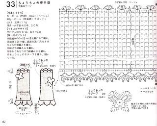 gráfico de luvas sem dedos de crochê