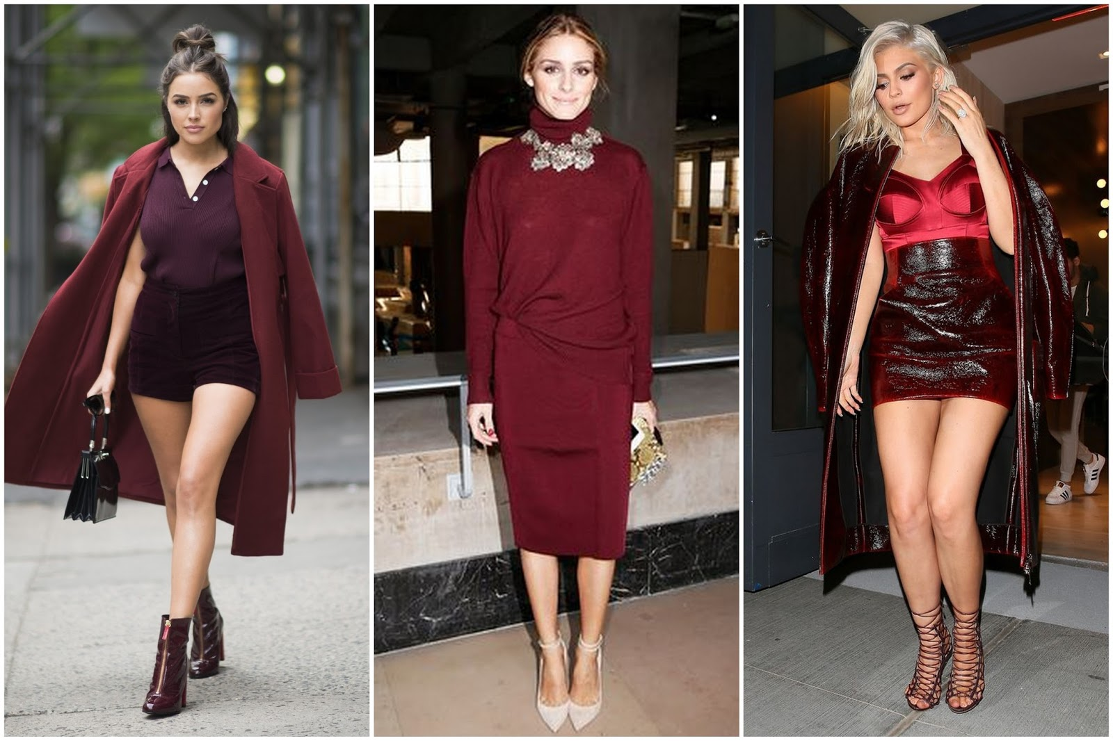 Olivia Culpo, Olivia Palermo, and Kylie Jenner stun in head-to-toe burgundy looks.