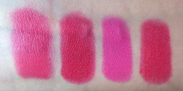 Pupa I'm Lipstick 412, Pupa I'm Lipstick 406, MAC Candy Yum Yum, Maybelline Color Sensational Vivid - Vivid Rose